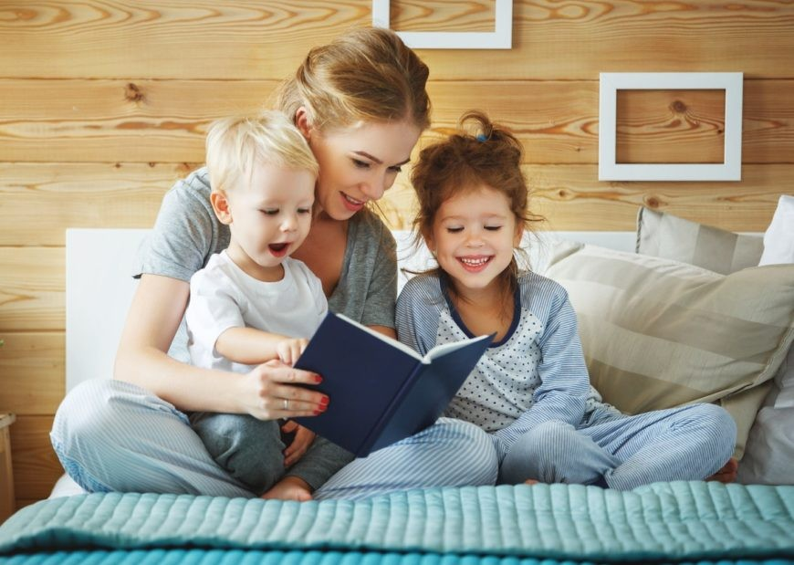 Mom reading for child